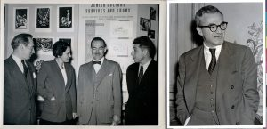 Kate Mendel with colleagues before the wedding, 1948 (left), Herbert Katzki after the marriage, 1953 (right)