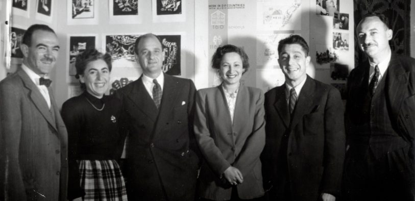 Left to right: Dr. Judah J. Shapiro (education and culture director), Blanche Bernstein (head of Budget and Research; Edward M. M. Warburg (Chairman); Kate Mendel (Belgium Director; Henry Levy (Czechoslovakia Director); and Moses Beckelmen (vice-chairman of European Headquarters) at JDC's 1948 Conference on Jewish Relief and Rehabilitation in Paris