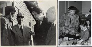 כיתוב: כפעילה הומניטרית, אלינור רוזוולט הייתה מעריצה גדולה של פעילויות הג'וינט. כאן היא מבקרת בכפר אוריאל (משמאל) ובבית הילדים Traveil מחוץ לפריז (מימין), שניהם בשנת 1952.