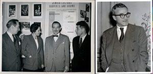 קייט מנדל עם עמיתים לפני החתונה, 1948 (משמאל), הרברט קאצקי לאחר הנישואין, 1953 (מימין)
